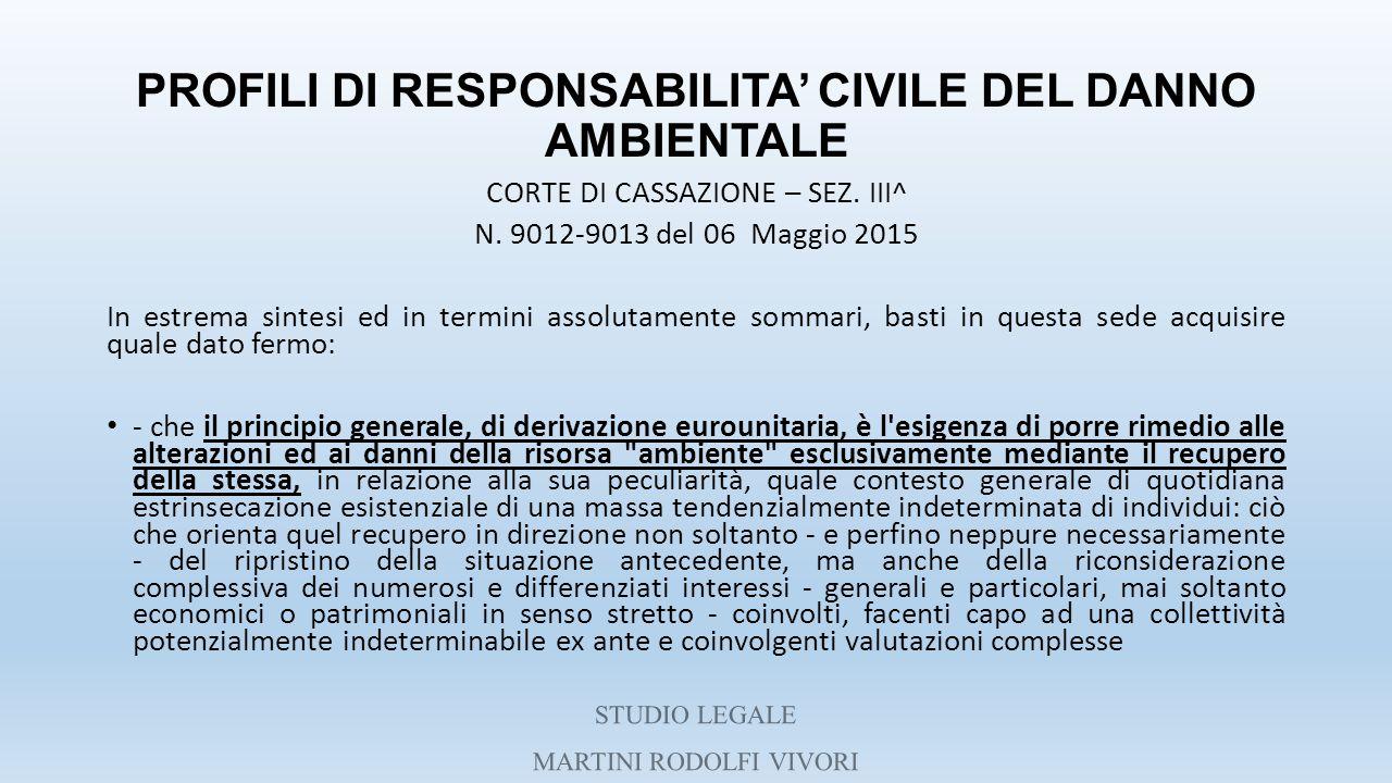 PROFILI DI RESPONSABILITA' CIVILE DEL DANNO AMBIENTALE CORTE DI CASSAZIONE – SEZ. III^ N. 9012-9013 del 06 Maggio 2015 In estrema sintesi ed in termin