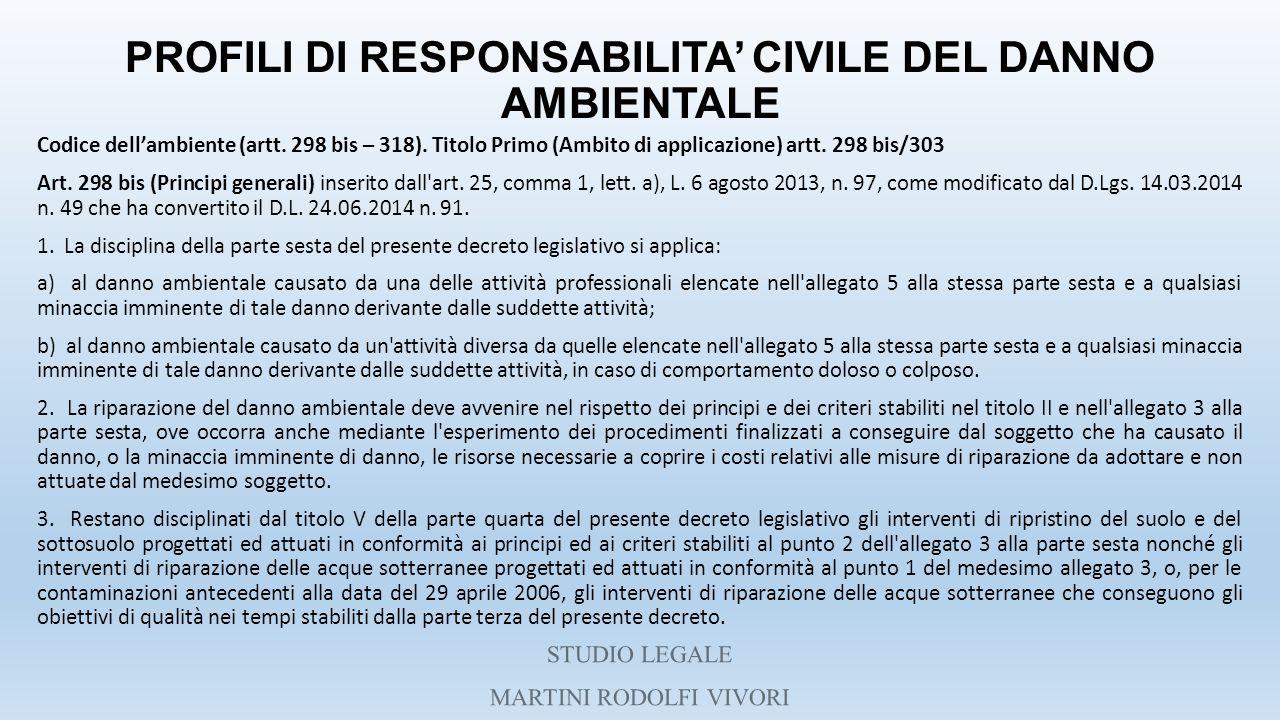 PROFILI DI RESPONSABILITA' CIVILE DEL DANNO AMBIENTALE Codice dell'ambiente (artt. 298 bis – 318). Titolo Primo (Ambito di applicazione) artt. 298 bis