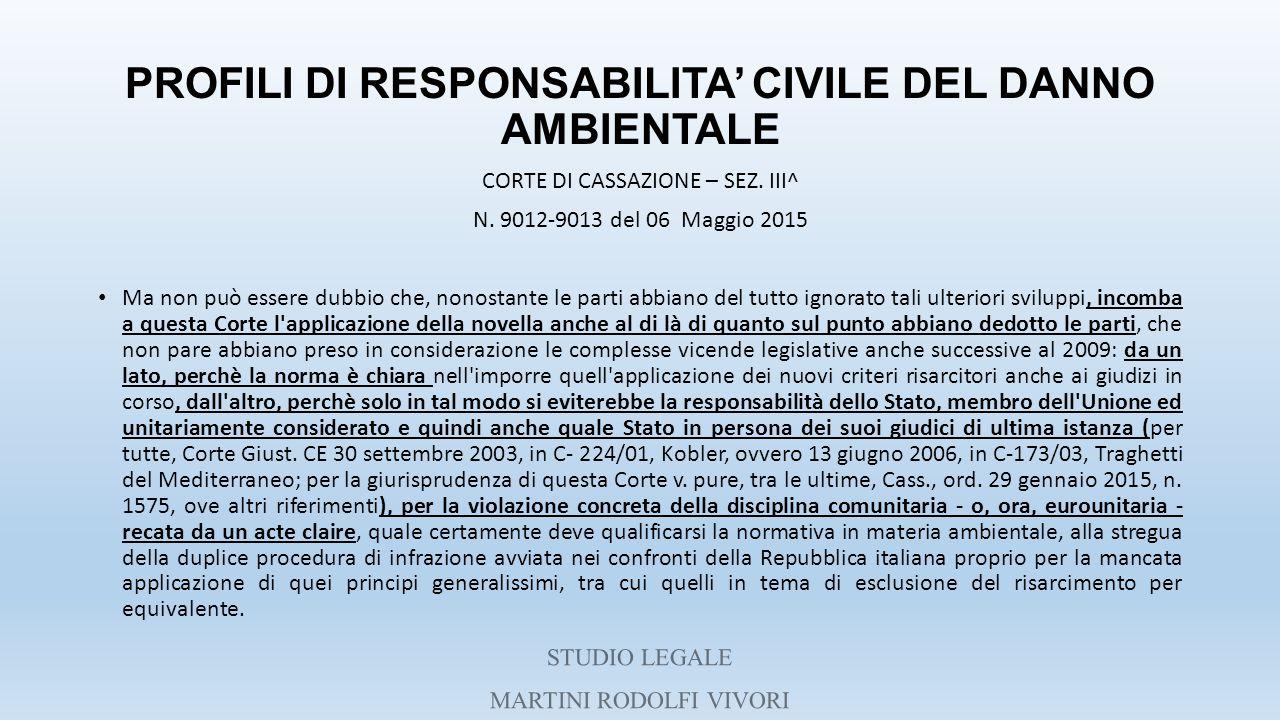 PROFILI DI RESPONSABILITA' CIVILE DEL DANNO AMBIENTALE CORTE DI CASSAZIONE – SEZ. III^ N. 9012-9013 del 06 Maggio 2015 Ma non può essere dubbio che, n