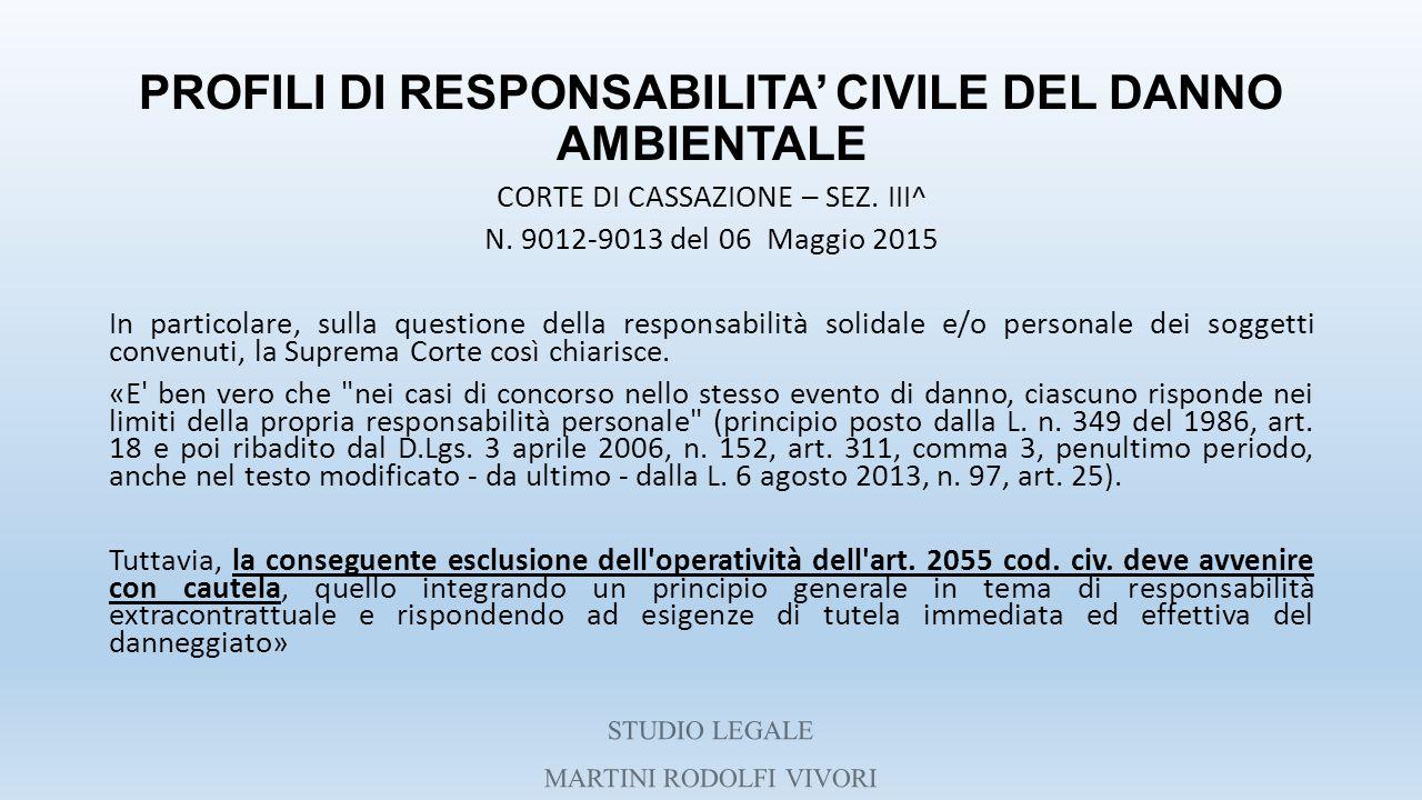 PROFILI DI RESPONSABILITA' CIVILE DEL DANNO AMBIENTALE CORTE DI CASSAZIONE – SEZ. III^ N. 9012-9013 del 06 Maggio 2015 In particolare, sulla questione