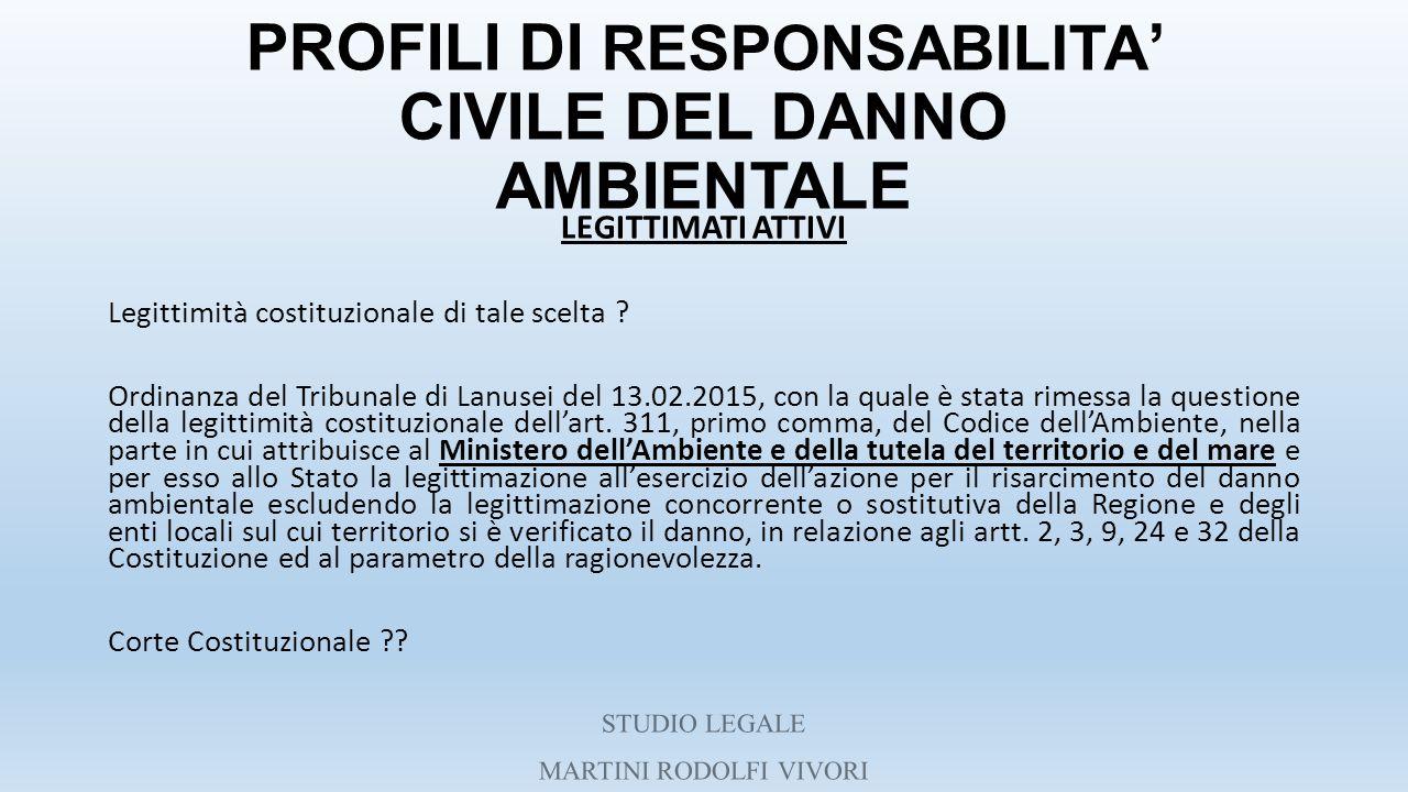 PROFILI DI RESPONSABILITA ' CIVILE DEL DANNO AMBIENTALE LEGITTIMATI ATTIVI Legittimità costituzionale di tale scelta ? Ordinanza del Tribunale di Lanu