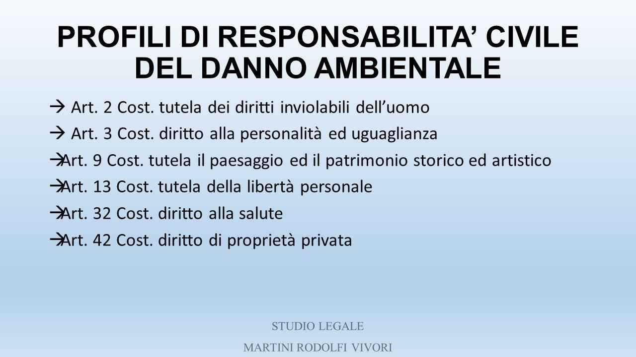 PROFILI DI RESPONSABILITA' CIVILE DEL DANNO AMBIENTALE  Art. 2 Cost. tutela dei diritti inviolabili dell'uomo  Art. 3 Cost. diritto alla personalità