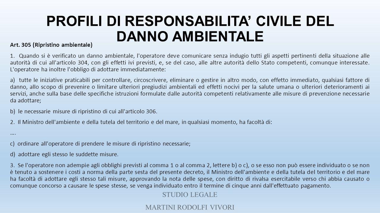 PROFILI DI RESPONSABILITA' CIVILE DEL DANNO AMBIENTALE Art. 305 (Ripristino ambientale) 1. Quando si è verificato un danno ambientale, l'operatore dev