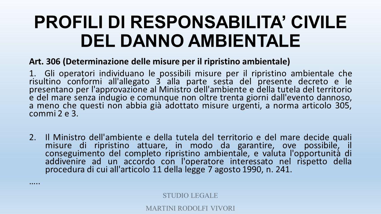 PROFILI DI RESPONSABILITA' CIVILE DEL DANNO AMBIENTALE Art. 306 (Determinazione delle misure per il ripristino ambientale) 1. Gli operatori individuan