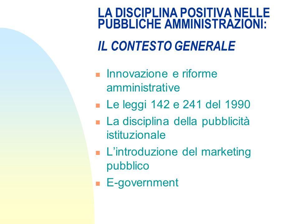 LA DISCIPLINA POSITIVA NELLE PUBBLICHE AMMINISTRAZIONI: IL CONTESTO GENERALE Innovazione e riforme amministrative Le leggi 142 e 241 del 1990 La disciplina della pubblicità istituzionale L'introduzione del marketing pubblico E-government