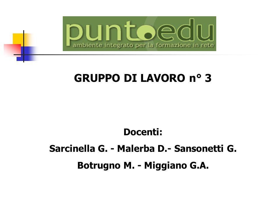 GRUPPO DI LAVORO n° 3 Docenti: Sarcinella G. - Malerba D.- Sansonetti G. Botrugno M. - Miggiano G.A.