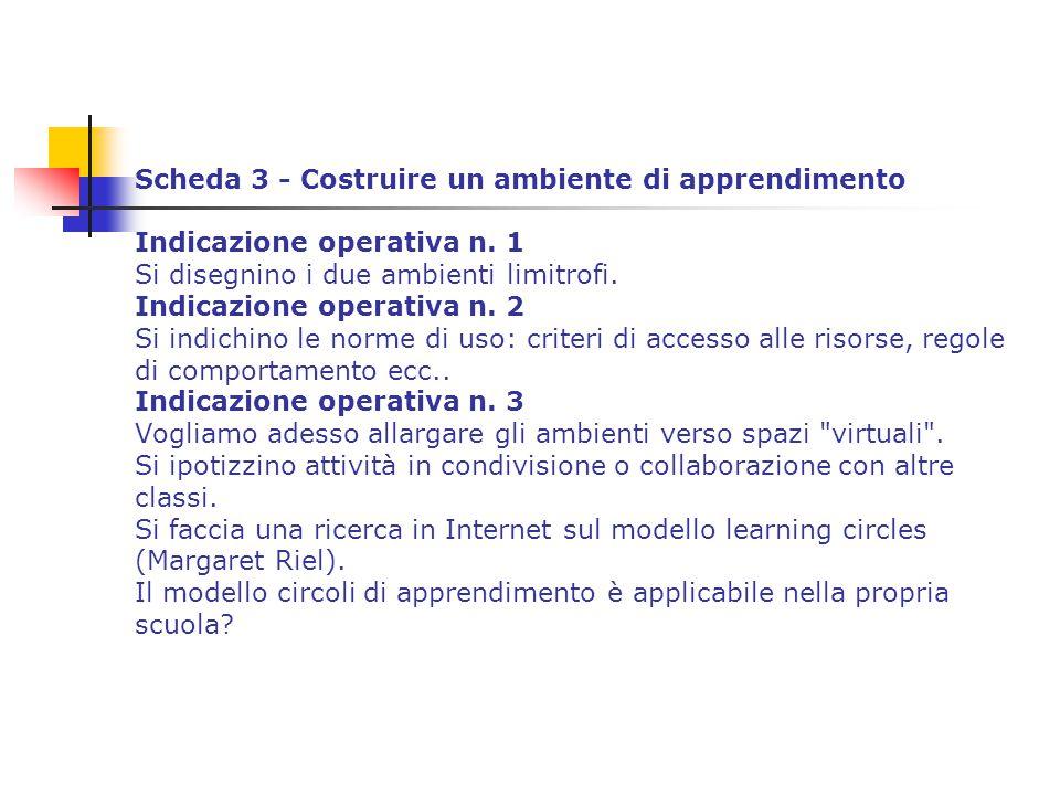 Scheda 3 - Costruire un ambiente di apprendimento Indicazione operativa n. 1 Si disegnino i due ambienti limitrofi. Indicazione operativa n. 2 Si indi