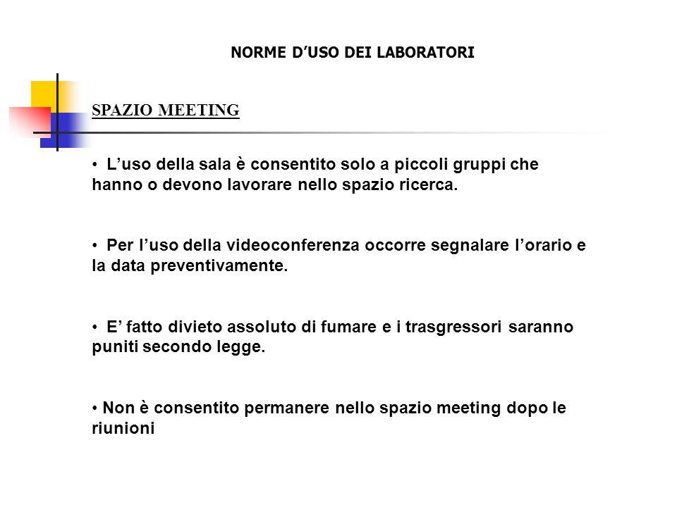 SPAZIO MEETING L'uso della sala è consentito solo a piccoli gruppi che hanno o devono lavorare nello spazio ricerca. Per l'uso della videoconferenza o