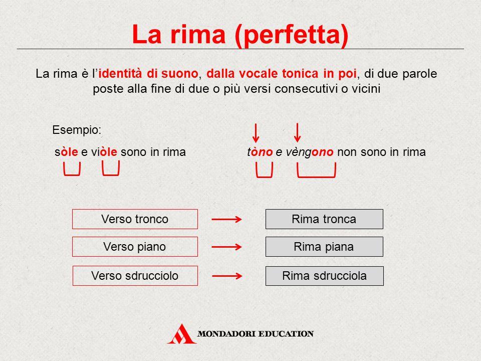 La rima (perfetta) La rima è l'identità di suono, dalla vocale tonica in poi, di due parole poste alla fine di due o più versi consecutivi o vicini Ve