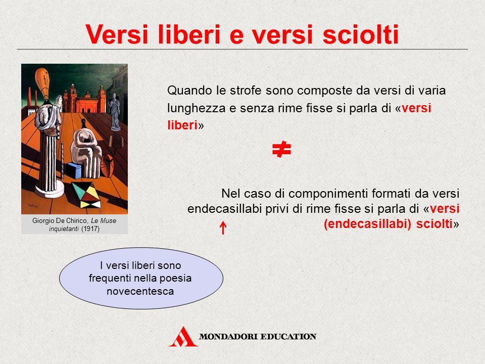 Versi liberi e versi sciolti Giorgio De Chirico, Le Muse inquietanti (1917) Quando le strofe sono composte da versi di varia lunghezza e senza rime fi