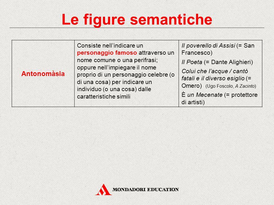 Le figure semantiche Antonomàsia Consiste nell'indicare un personaggio famoso attraverso un nome comune o una perifrasi; oppure nell'impiegare il nome
