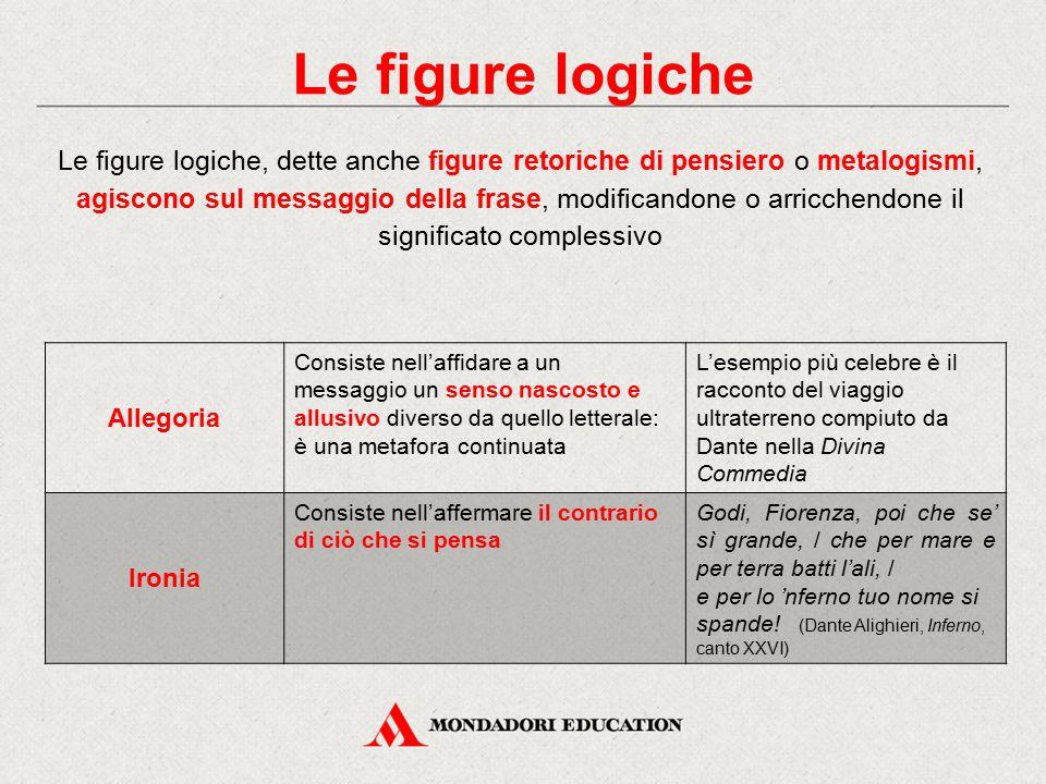 Le figure logiche Le figure logiche, dette anche figure retoriche di pensiero o metalogismi, agiscono sul messaggio della frase, modificandone o arric