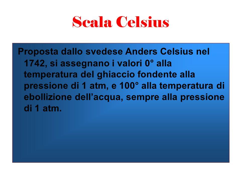 Scala Celsius Proposta dallo svedese Anders Celsius nel 1742, si assegnano i valori 0° alla temperatura del ghiaccio fondente alla pressione di 1 atm, e 100° alla temperatura di ebollizione dell'acqua, sempre alla pressione di 1 atm.