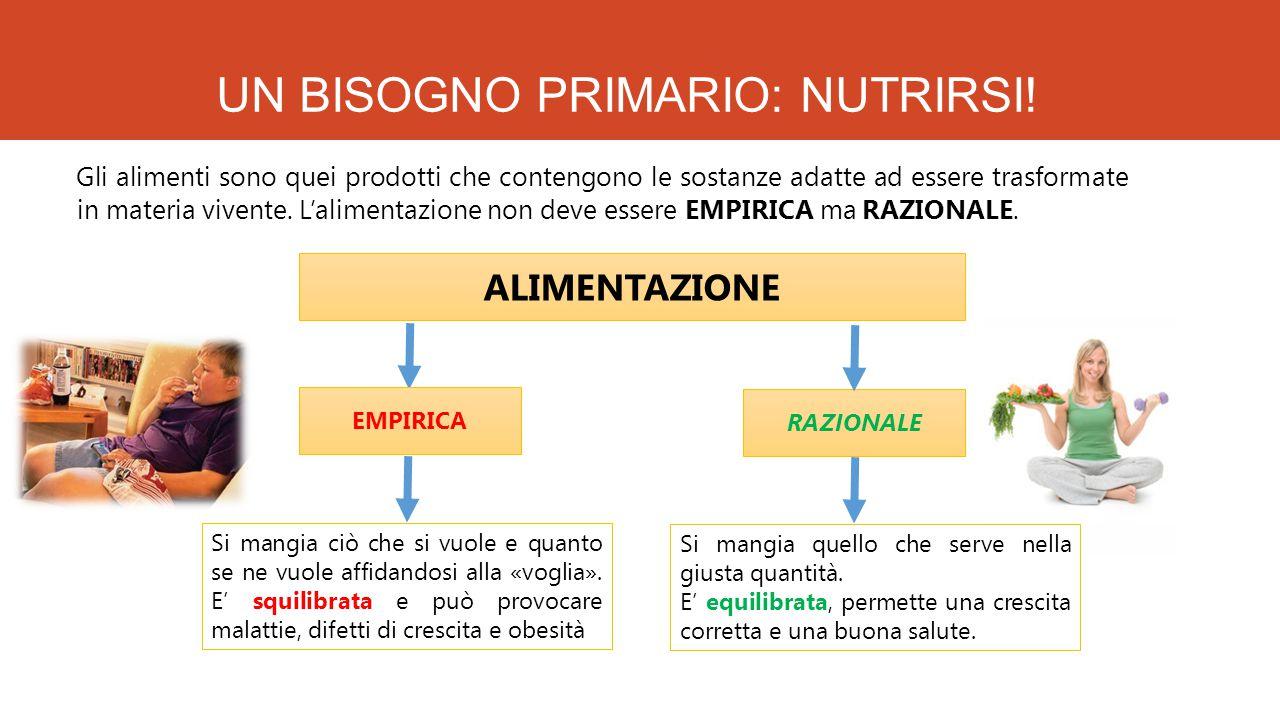 UN BISOGNO PRIMARIO: NUTRIRSI! Gli alimenti sono quei prodotti che contengono le sostanze adatte ad essere trasformate in materia vivente. L'alimentaz