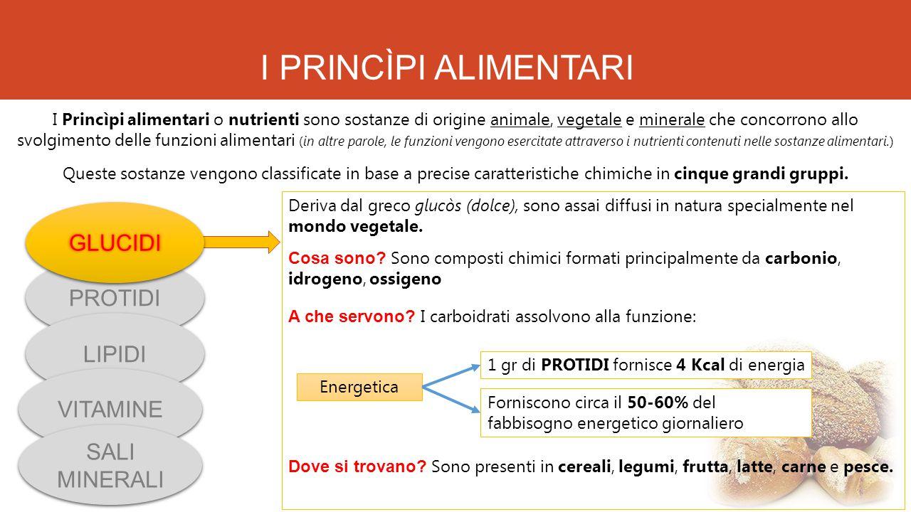 I PRINCÌPI ALIMENTARI I Princìpi alimentari o nutrienti sono sostanze di origine animale, vegetale e minerale che concorrono allo svolgimento delle fu