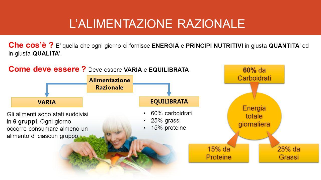 L'ALIMENTAZIONE RAZIONALE Che cos'è ? E' quella che ogni giorno ci fornisce ENERGIA e PRINCIPI NUTRITIVI in giusta QUANTITA' ed in giusta QUALITA'. Co
