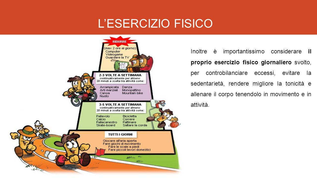 L'ESERCIZIO FISICO Inoltre è importantissimo considerare il proprio esercizio fisico giornaliero svolto, per controbilanciare eccessi, evitare la sede