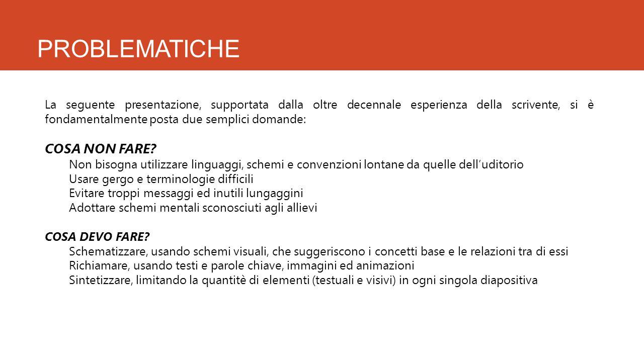 RICORDARE SEMPRE CHE: Le slide non devono essere lette, ma percepite Il contenuto deve essere semplice ed immediato Troppo testo distrae Non si deve divagare (uso dei confini funzionali) Gli ancoraggi sono molto utili Bisogna essere flessibili.