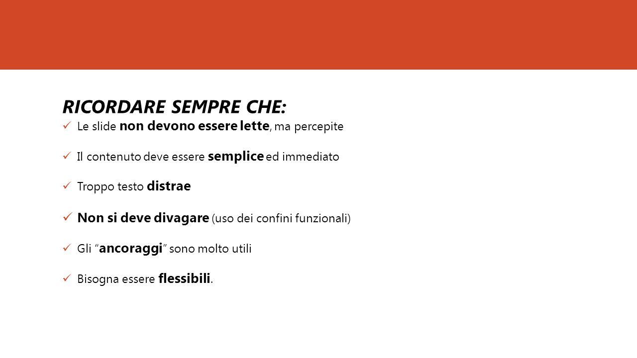 RICORDARE SEMPRE CHE: Le slide non devono essere lette, ma percepite Il contenuto deve essere semplice ed immediato Troppo testo distrae Non si deve d