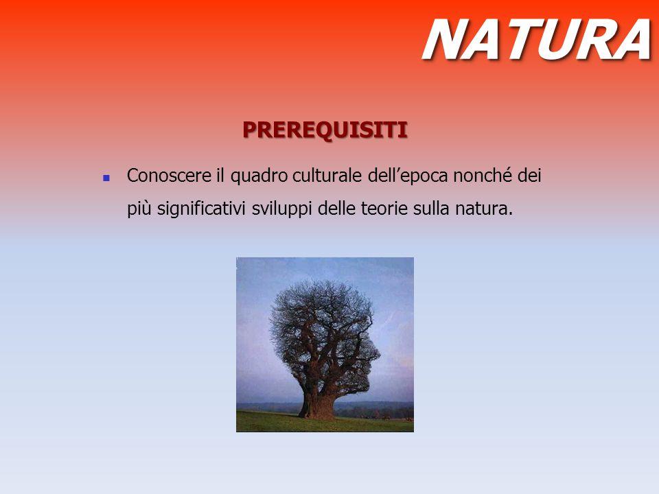 PREREQUISITI Conoscere il quadro culturale dell'epoca nonché dei più significativi sviluppi delle teorie sulla natura. NATURANATURA
