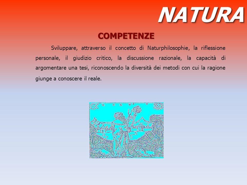 COMPETENZE COMPETENZE Sviluppare, attraverso il concetto di Naturphilosophie, la riflessione personale, il giudizio critico, la discussione razionale,