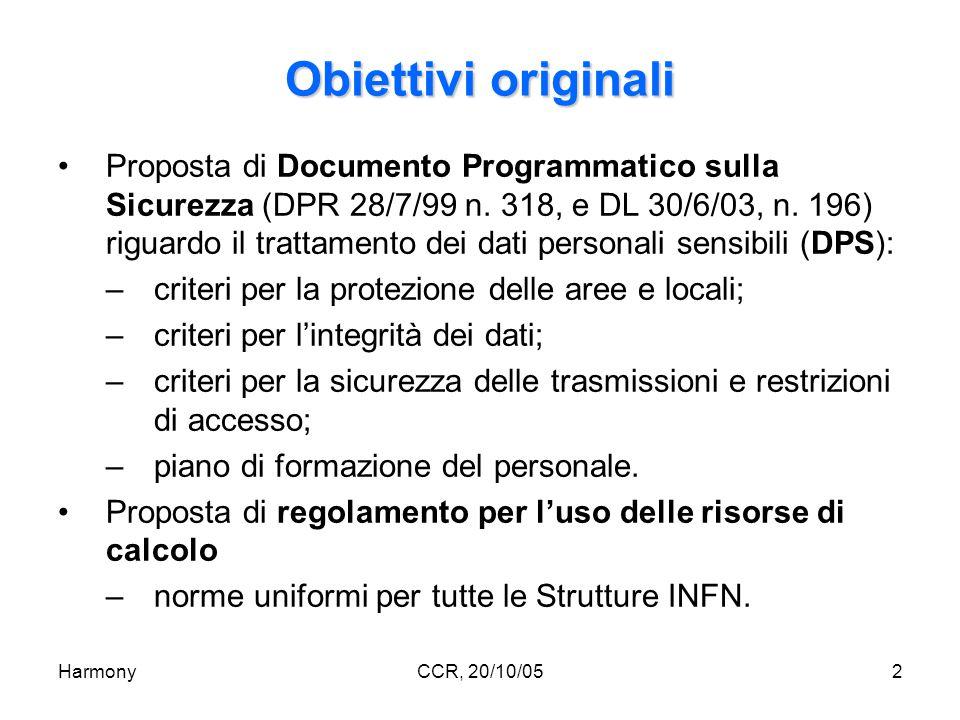 HarmonyCCR, 20/10/053 Deliverable 1: DPS Template per la stesura del DPS –distribuito alle Strutture per la necessaria personalizzazione; –nuova versione a seguito del DL 30/6/03; –completato da quasi tutte le Strutture.