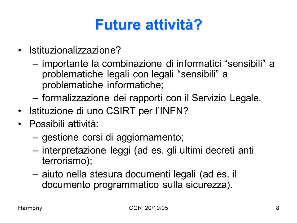 HarmonyCCR, 20/10/058 Future attività. Istituzionalizzazione.