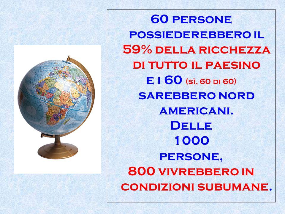 60 persone possiederebbero il 59% della ricchezza di tutto il paesino e i 60 (sì, 60 di 60) sarebbero nord americani. Delle 1000 persone, 800 vivrebbe