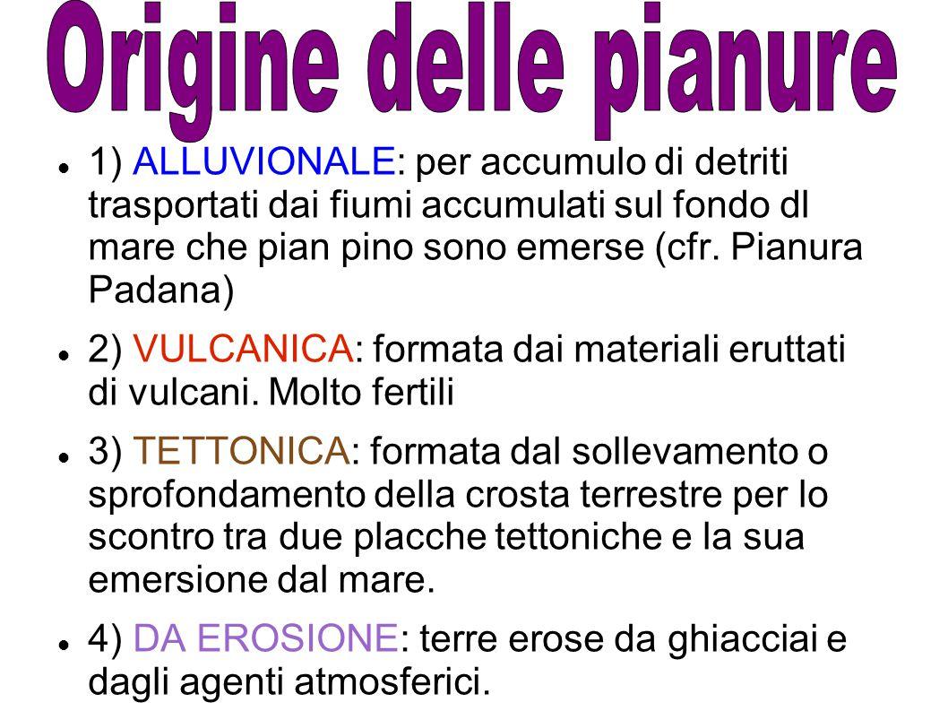 1) ALLUVIONALE: per accumulo di detriti trasportati dai fiumi accumulati sul fondo dl mare che pian pino sono emerse (cfr. Pianura Padana) 2) VULCANIC