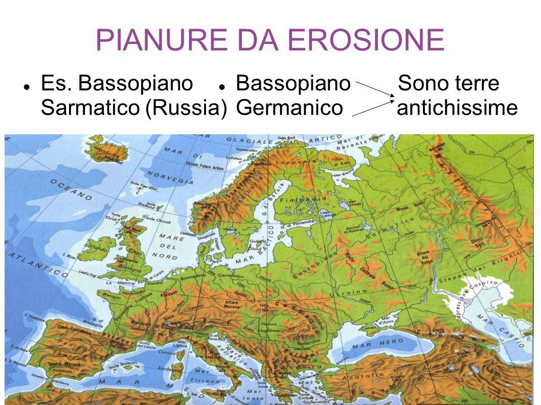 PIANURE DA EROSIONE Es. Bassopiano Sarmatico (Russia) Bassopiano Sono terre Germanico antichissime