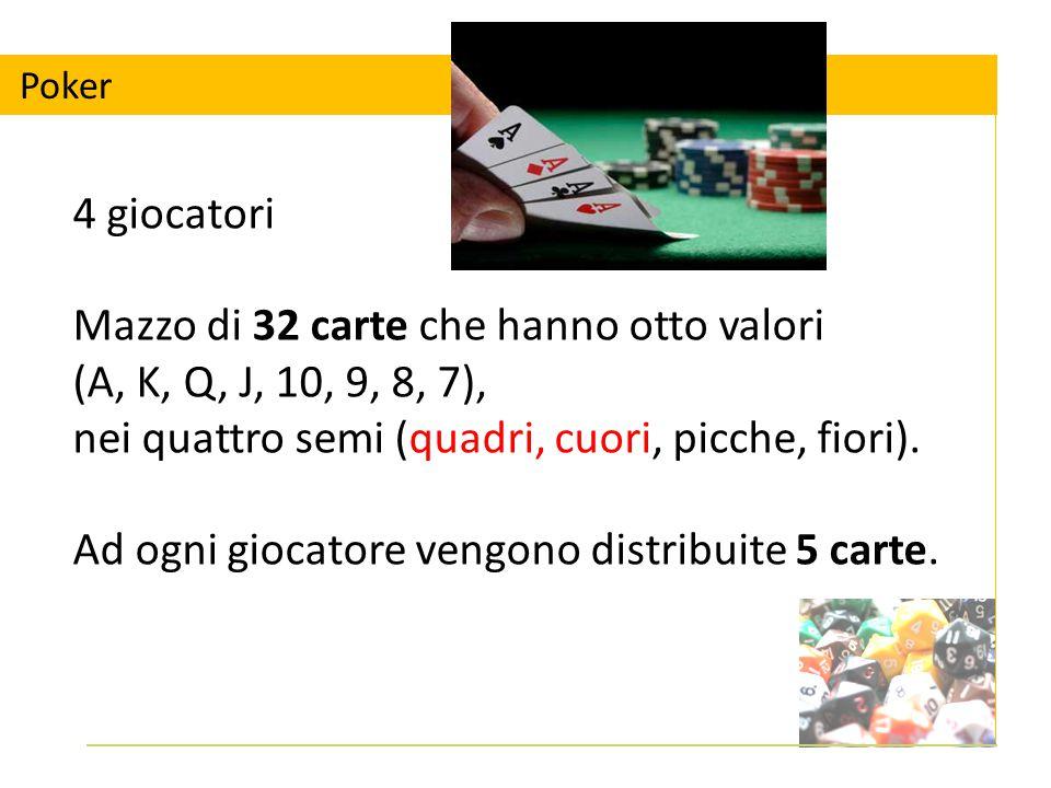 Poker 4 giocatori Mazzo di 32 carte che hanno otto valori (A, K, Q, J, 10, 9, 8, 7), nei quattro semi (quadri, cuori, picche, fiori).