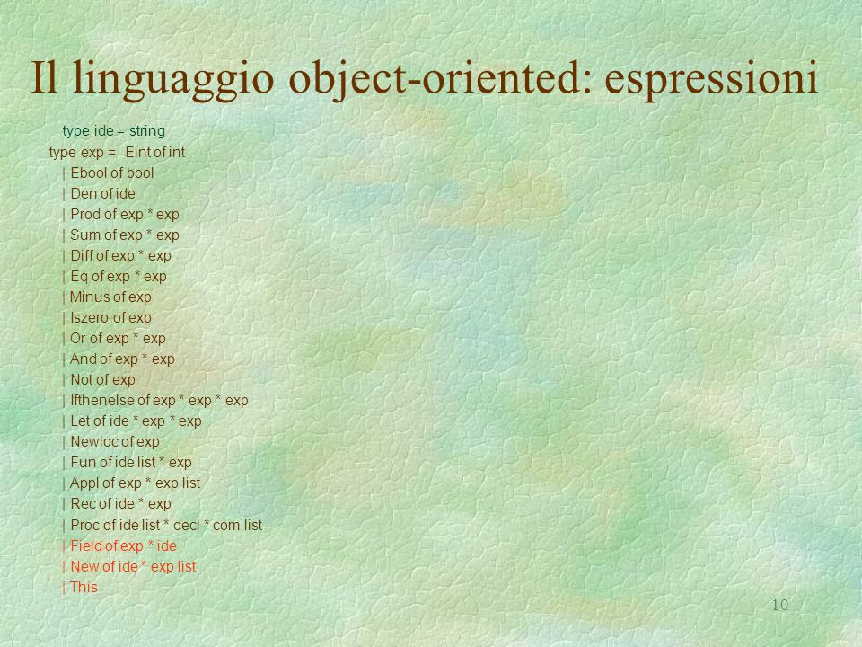 10 Il linguaggio object-oriented: espressioni type ide = string type exp = Eint of int | Ebool of bool | Den of ide | Prod of exp * exp | Sum of exp * exp | Diff of exp * exp | Eq of exp * exp | Minus of exp | Iszero of exp | Or of exp * exp | And of exp * exp | Not of exp | Ifthenelse of exp * exp * exp | Let of ide * exp * exp | Newloc of exp | Fun of ide list * exp | Appl of exp * exp list | Rec of ide * exp | Proc of ide list * decl * com list | Field of exp * ide | New of ide * exp list | This