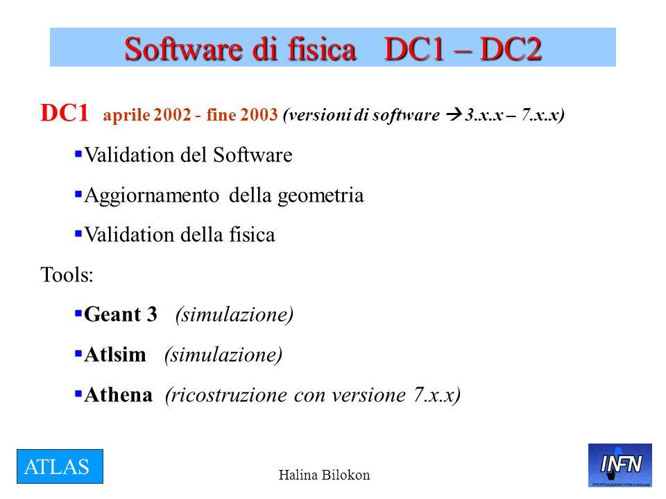 Halina Bilokon ATLAS Software di fisica DC1 – DC2 DC1 aprile 2002 - fine 2003 (versioni di software  3.x.x – 7.x.x)  Validation del Software  Aggiornamento della geometria  Validation della fisica Tools:  Geant 3 (simulazione)  Atlsim (simulazione)  Athena (ricostruzione con versione 7.x.x)