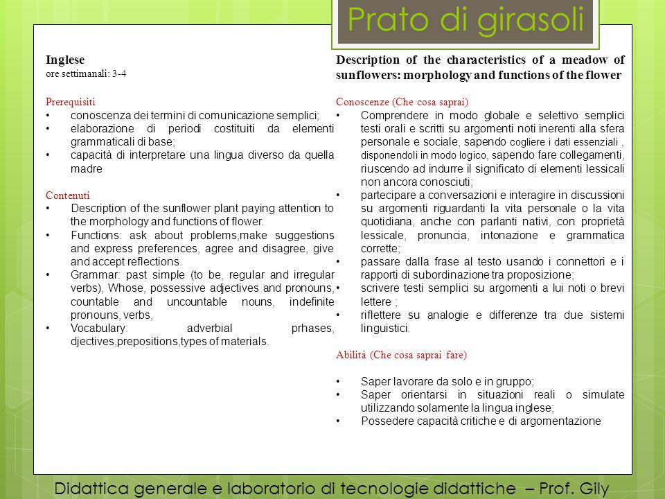 Didattica generale e laboratorio di tecnologie didattiche – Prof. Gily Inglese ore settimanali: 3-4 Description of the characteristics of a meadow of