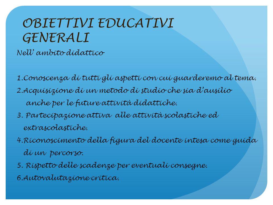 OBIETTIVI EDUCATIVI GENERALI Nell'ambito sociale: 1.Coscienza delle loro capacità e della loro bravura nel saper svolgere bene un compito assegnato. 2
