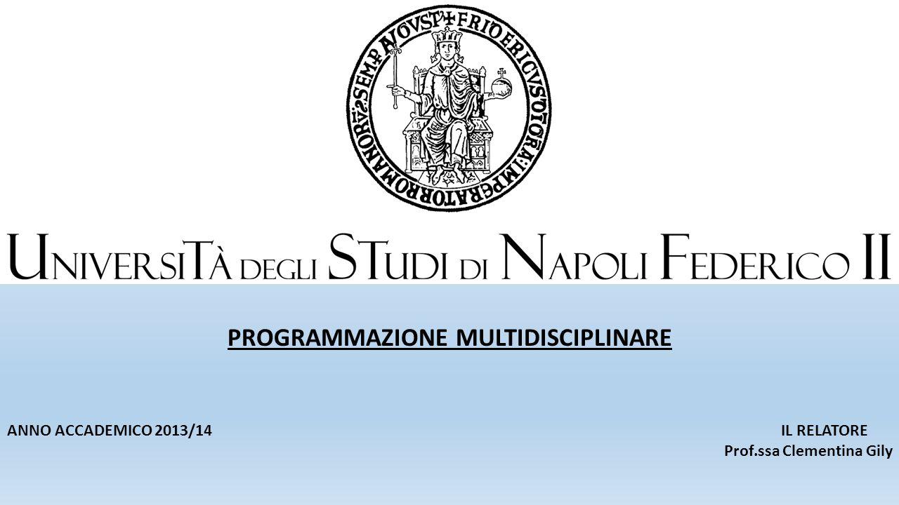 PROGRAMMAZIONE MULTIDISCIPLINARE ANNO ACCADEMICO 2013/14 IL RELATORE Prof.ssa Clementina Gily