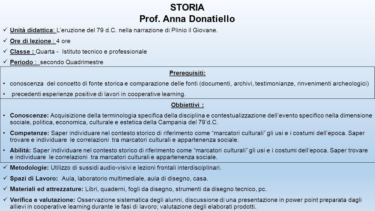 Unità didattica: L'eruzione del 79 d.C. nella narrazione di Plinio il Giovane. Ore di lezione : 4 ore Classe : Quarta - Istituto tecnico e professiona