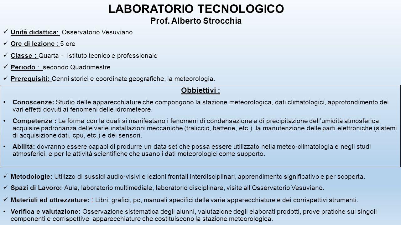 Unità didattica : Osservatorio Vesuviano Ore di lezione : 5 ore Classe : Quarta - Istituto tecnico e professionale Periodo : secondo Quadrimestre Prer