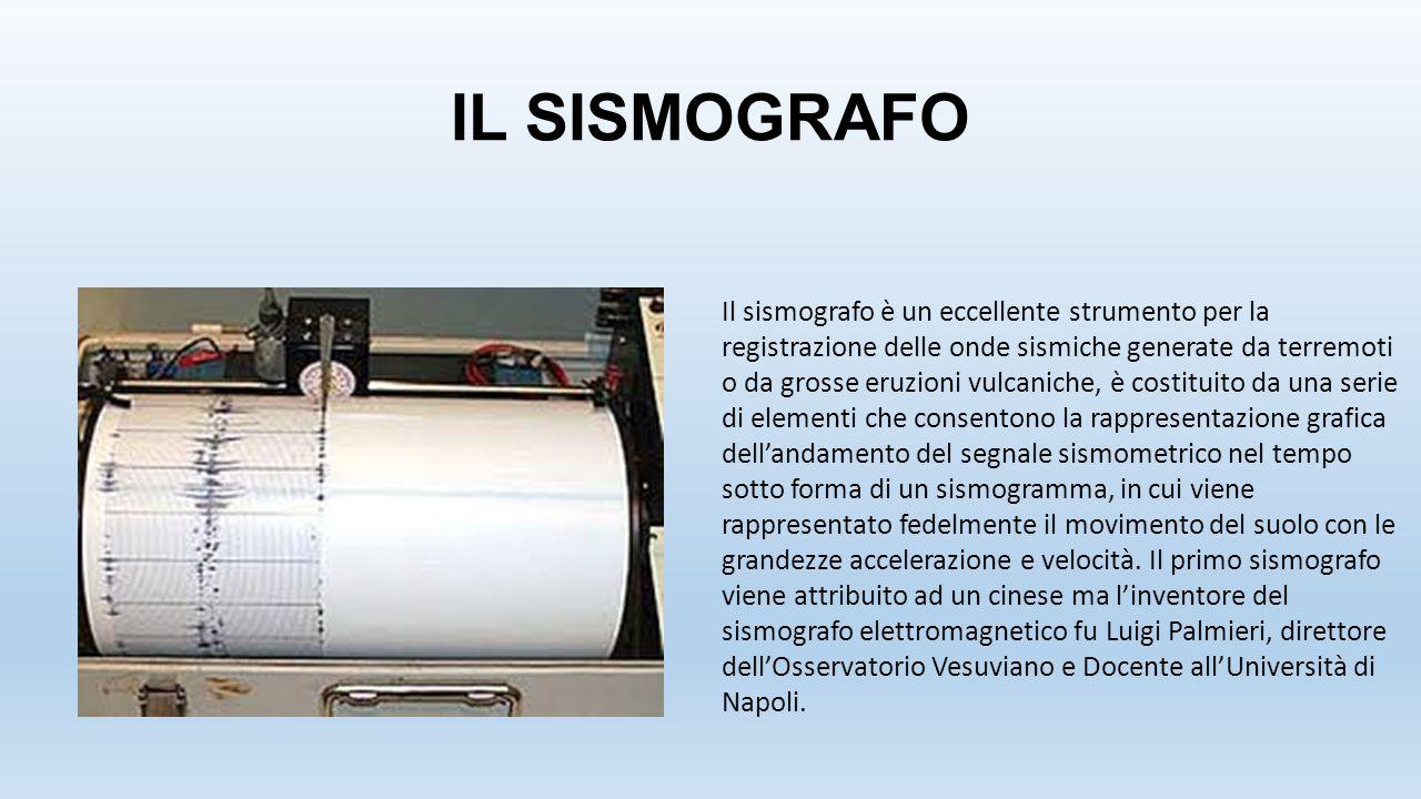 IL SISMOGRAFO Il sismografo è un eccellente strumento per la registrazione delle onde sismiche generate da terremoti o da grosse eruzioni vulcaniche,
