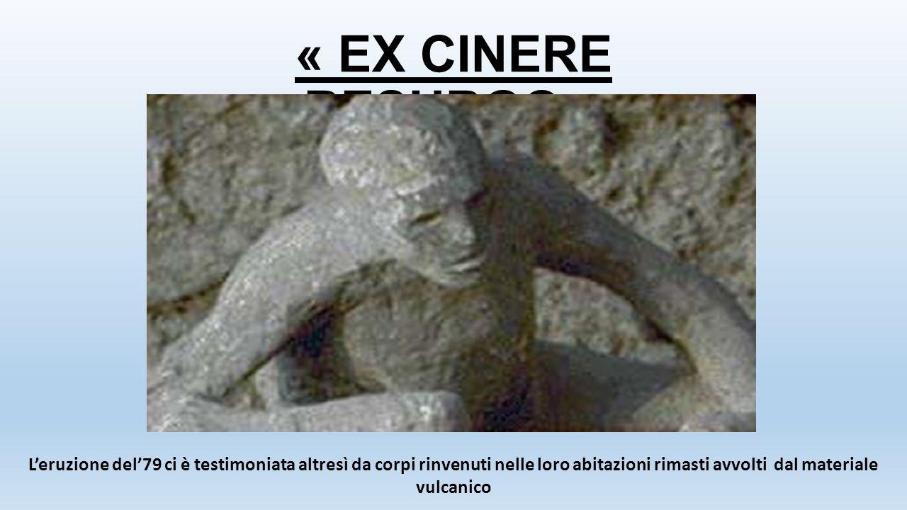« EX CINERE RESURGO » L'eruzione del'79 ci è testimoniata altresì da corpi rinvenuti nelle loro abitazioni rimasti avvolti dal materiale vulcanico