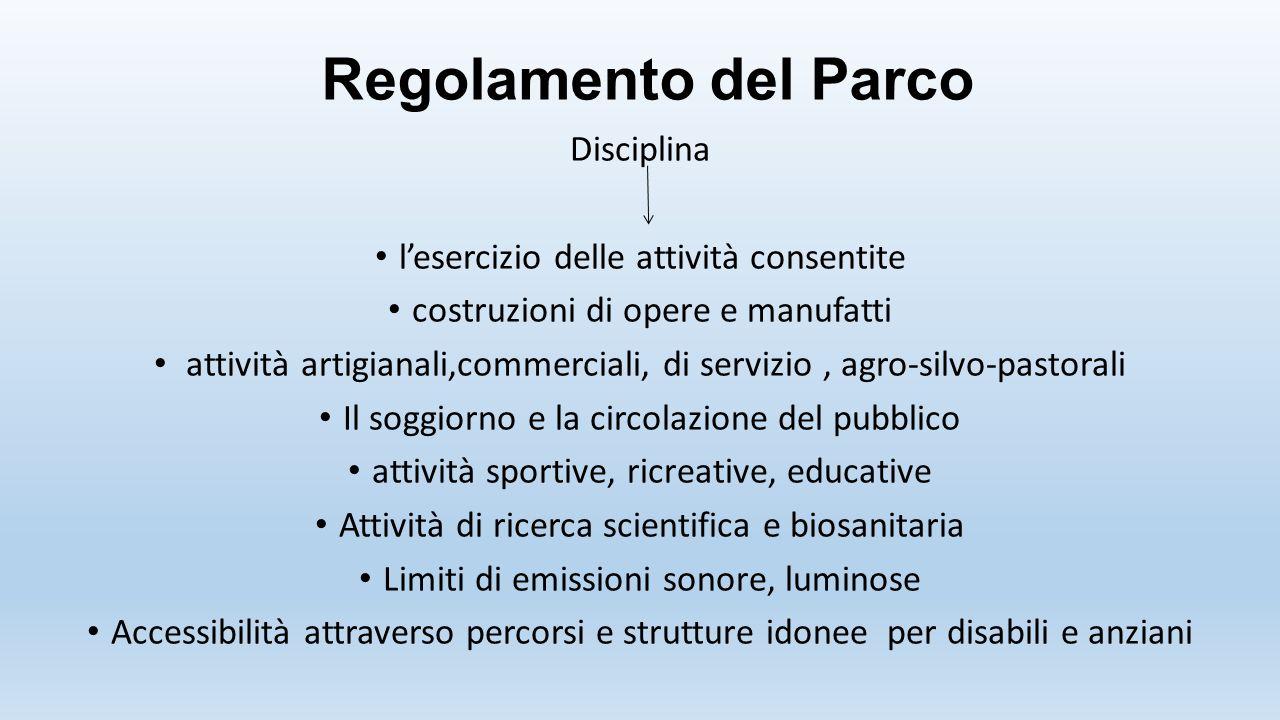 Disciplina l'esercizio delle attività consentite costruzioni di opere e manufatti attività artigianali,commerciali, di servizio, agro-silvo-pastorali