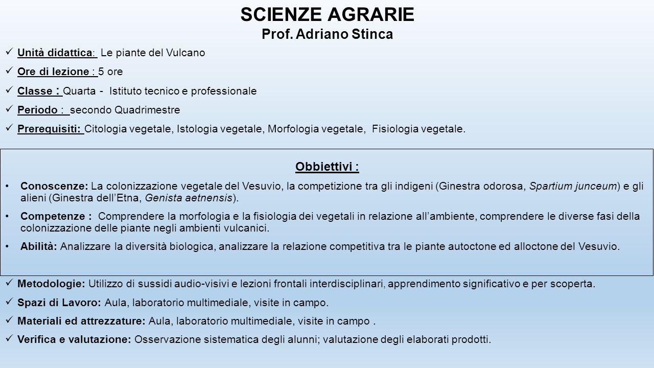 Unità didattica : Le piante del Vulcano Ore di lezione : 5 ore Classe : Quarta - Istituto tecnico e professionale Periodo : secondo Quadrimestre Prere