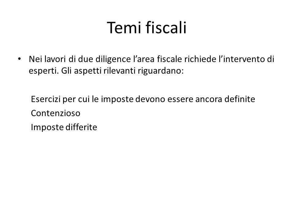 Temi fiscali Nei lavori di due diligence l'area fiscale richiede l'intervento di esperti. Gli aspetti rilevanti riguardano: Esercizi per cui le impost