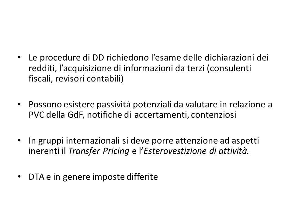 Le procedure di DD richiedono l'esame delle dichiarazioni dei redditi, l'acquisizione di informazioni da terzi (consulenti fiscali, revisori contabili