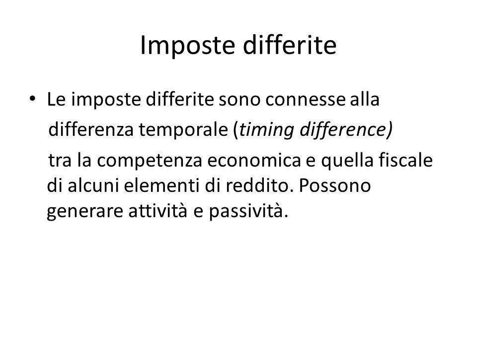 Imposte differite Le imposte differite sono connesse alla differenza temporale (timing difference) tra la competenza economica e quella fiscale di alc