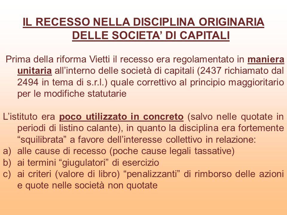 CAUSE LEGALI ED INDEROGABILI DI RECESSO PREVISTE NELL'ART.