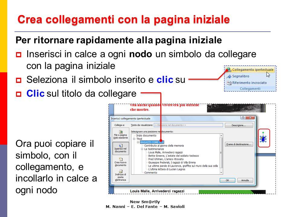 Crea collegamenti con la pagina iniziale New Sm@rtly M.