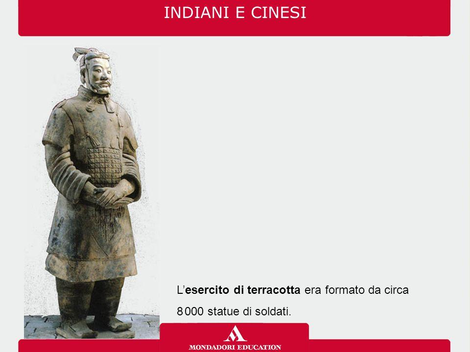 INDIANI E CINESI L'esercito di terracotta era formato da circa 8. 000 statue di soldati.