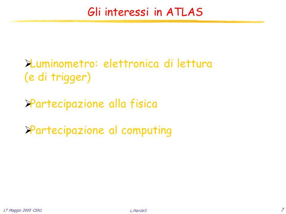 17 Maggio 2005 CSN1 L.Mandelli 7  Luminometro: elettronica di lettura (e di trigger)  Partecipazione alla fisica  Partecipazione al computing Gli interessi in ATLAS