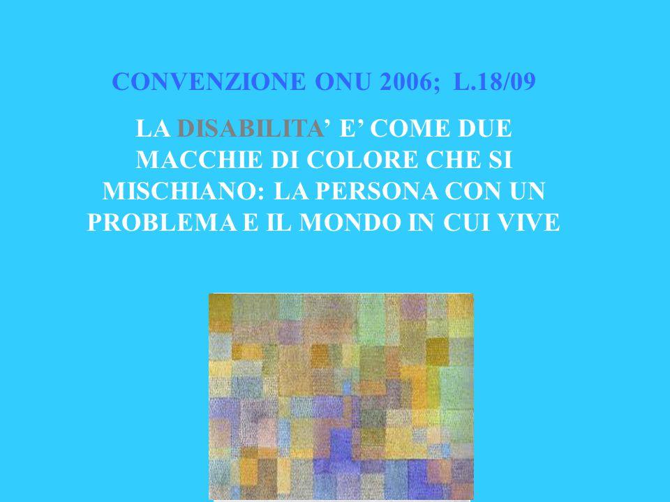 CONVENZIONE ONU 2006; L.18/09 LA DISABILITA' E' COME DUE MACCHIE DI COLORE CHE SI MISCHIANO: LA PERSONA CON UN PROBLEMA E IL MONDO IN CUI VIVE